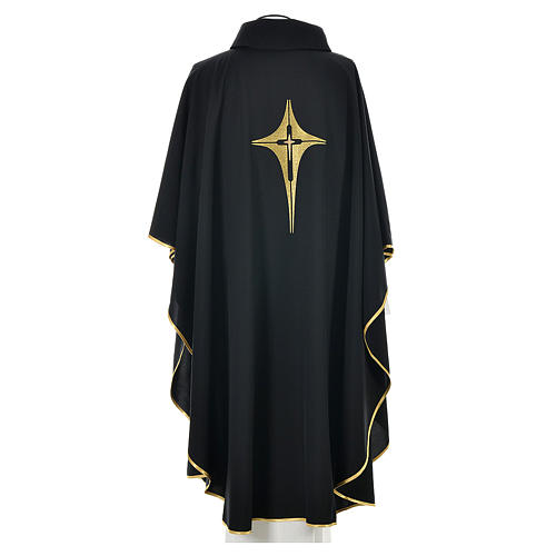 Black Chasuble with Gold Cross 100% polyester 2