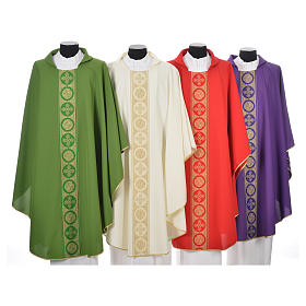 Chasubles: Chasuble 100% polyester golden crosses embellishment