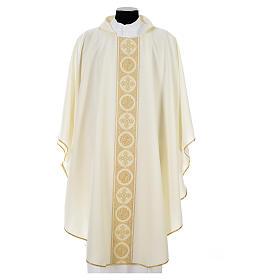 Chasuble 100% polyester golden crosses embellishment s4