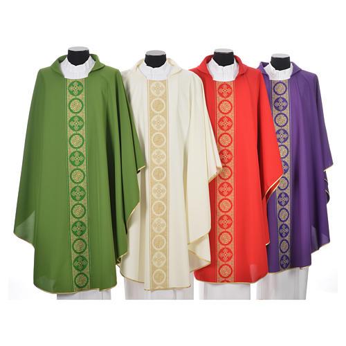 Chasuble 100% polyester décors croix dorées 1