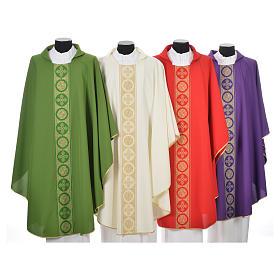 Liturgical Chasuble 100% polyester golden crosses embellishment s1
