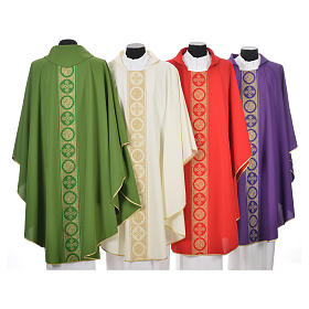 Liturgical Chasuble 100% polyester golden crosses embellishment s2