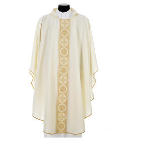 Liturgical Chasuble 100% polyester golden crosses embellishment s4