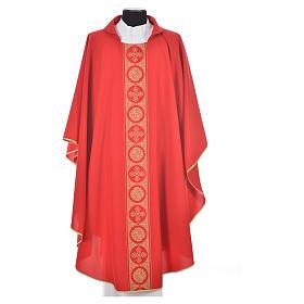 Liturgical Chasuble 100% polyester golden crosses embellishment s5