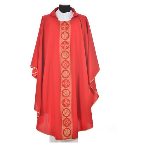 Liturgical Chasuble 100% polyester golden crosses embellishment 5