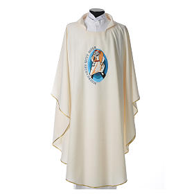 STOCK Pope Francis' Jubilee Chasuble with Latin writing s1