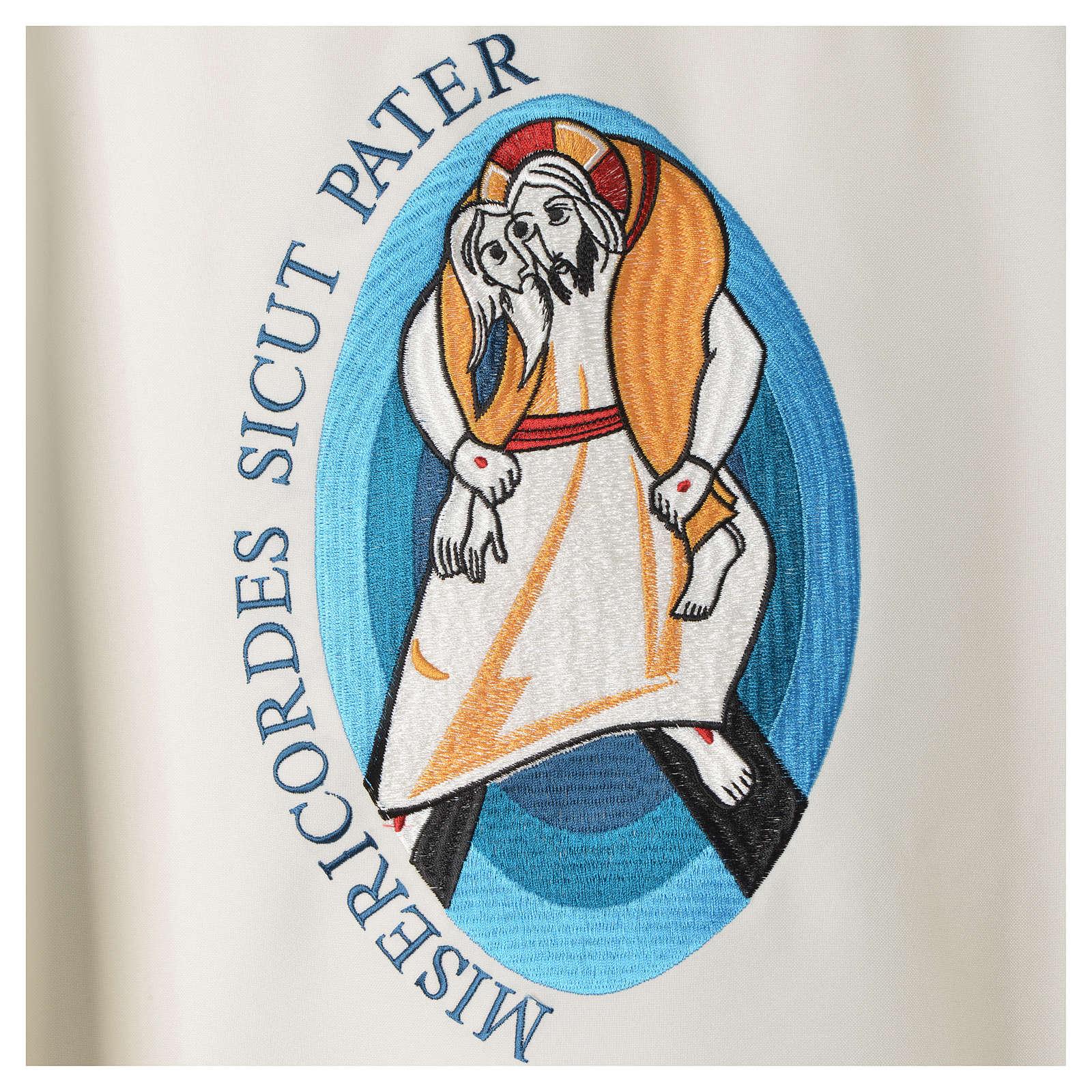 STOCK Casula Jubileu Papa Francisco escrita LATIM poliéster bordado máquina 4