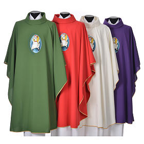 Chasubles: STOCK Chasuble Jubilee with LATIN application 100% polyester