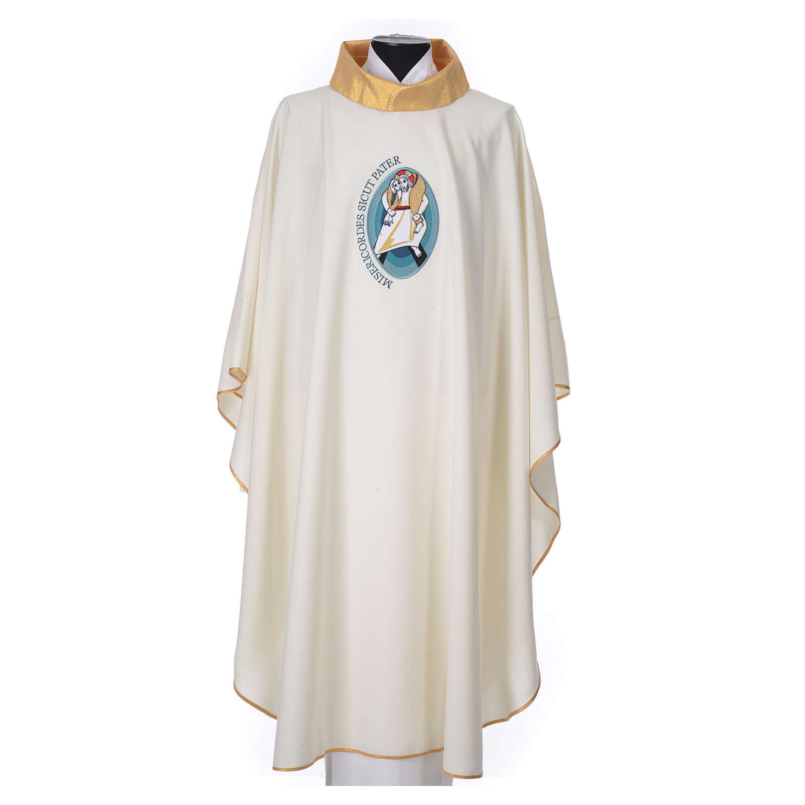 STOCK Chasuble Jubilee with LATIN application and golden finish 100% polyester 4