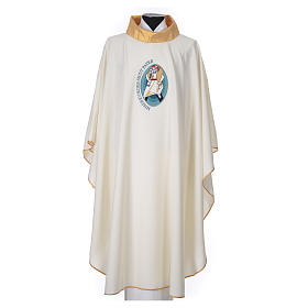STOCK Chasuble Jubilee with LATIN application and golden finish 100% polyester s1