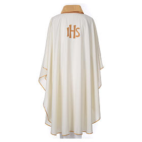 STOCK Chasuble Jubilee with LATIN application and golden finish 100% polyester s2