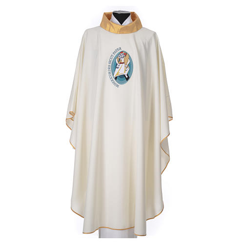STOCK Chasuble Jubilee with LATIN application and golden finish 100% polyester 1