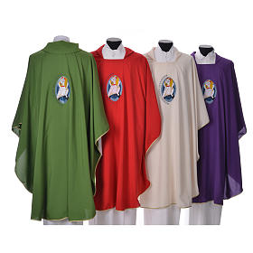STOCK Chasuble Jubilee with LATIN machine embroided logo 100% polyester s2
