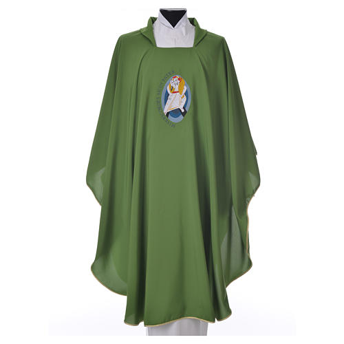 STOCK Chasuble Jubilee with LATIN machine embroided logo 100% polyester 6