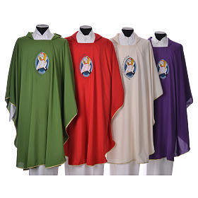 STOCK Chasuble Jubilé Miséricorde 100% polyester LATIN brodé machine s1