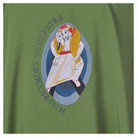 STOCK Chasuble Jubilé Miséricorde 100% polyester LATIN brodé machine s7
