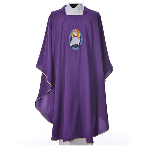 STOCK Chasuble Jubilé Miséricorde 100% polyester LATIN brodé machine 3