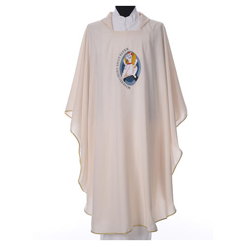 STOCK Chasuble Jubilé Miséricorde 100% polyester LATIN brodé machine 4