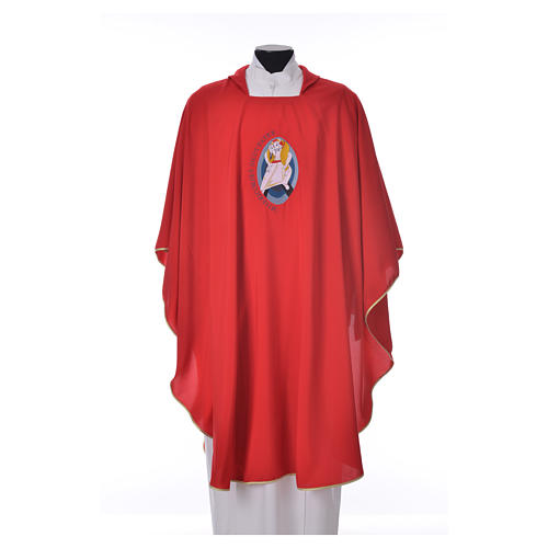 STOCK Chasuble Jubilé Miséricorde 100% polyester LATIN brodé machine 5