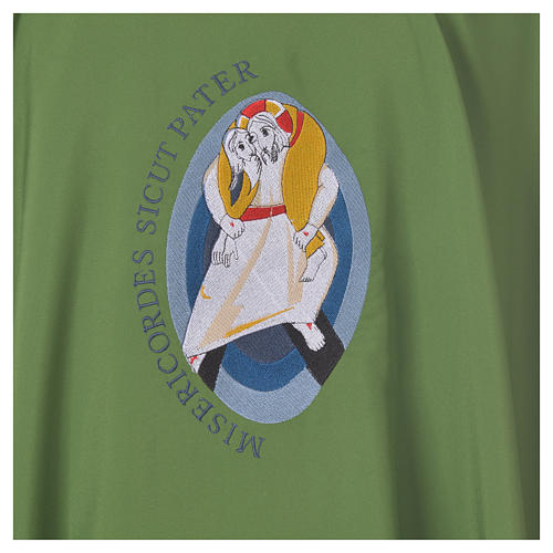 STOCK Chasuble Jubilé Miséricorde 100% polyester LATIN brodé machine 7