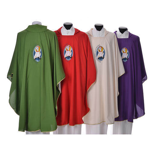 STOCK Chasuble Jubilee with LATIN machine embroided logo 100% polyester 2