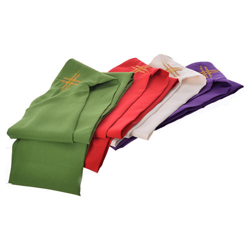 STOCK Chasuble Jubilee with LATIN machine embroided logo 100% polyester 8