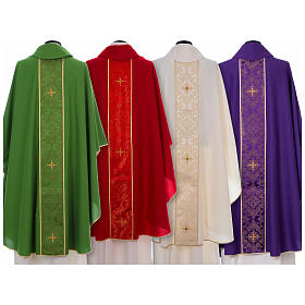 Chasuble in 100% polyester with damask filigree stole and three crosses s2