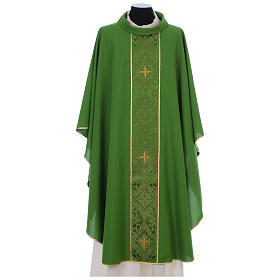 Chasuble in 100% polyester with damask filigree stole and three crosses s3