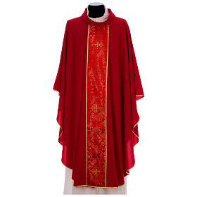 Chasuble in 100% polyester with damask filigree stole and three crosses s4