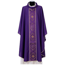 Chasuble in 100% polyester with damask filigree stole and three crosses s6