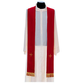 Chasuble in 100% polyester with damask filigree stole and three crosses s9