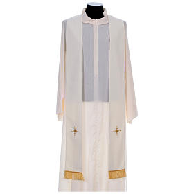 Chasuble in 100% polyester with damask filigree stole and three crosses s10