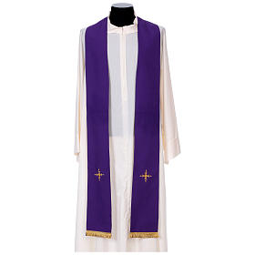 Chasuble in 100% polyester with damask filigree stole and three crosses s11