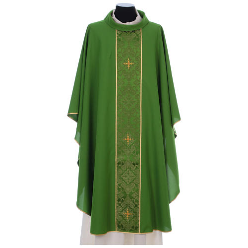 Chasuble in 100% polyester with damask filigree stole and three crosses 3