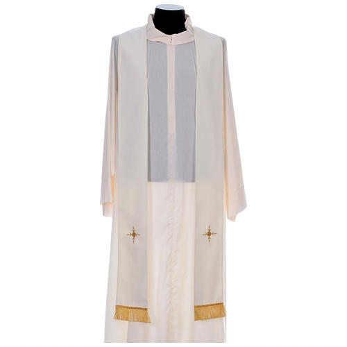 Chasuble in 100% polyester with damask filigree stole and three crosses 10