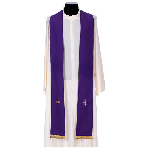 Chasuble in 100% polyester with damask filigree stole and three crosses 11