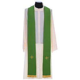 Chasuble 100% polyester bande centrale damas filigrané 3 croix brodées s8