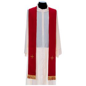 Chasuble 100% polyester bande centrale damas filigrané 3 croix brodées s9