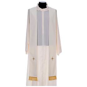 Chasuble 100% polyester bande centrale damas filigrané 3 croix brodées s10