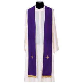 Chasuble 100% polyester bande centrale damas filigrané 3 croix brodées s11