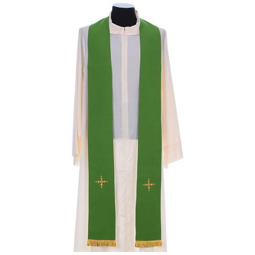 Chasuble 100% polyester bande centrale damas filigrané 3 croix brodées 8