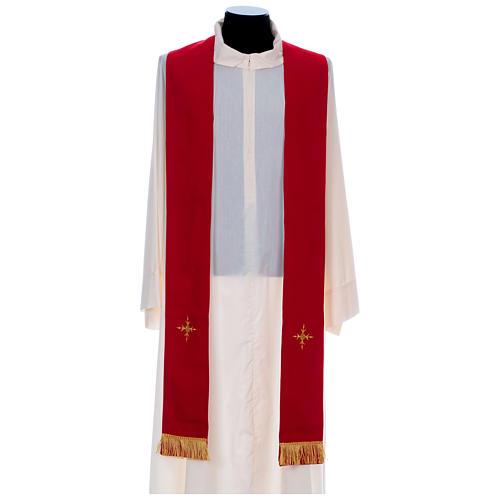 Chasuble 100% polyester bande centrale damas filigrané 3 croix brodées 9