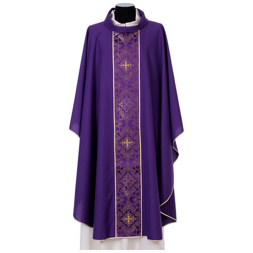 Catholic Priest Chasuble in 100% polyester with damask filigree stole and three crosses 6