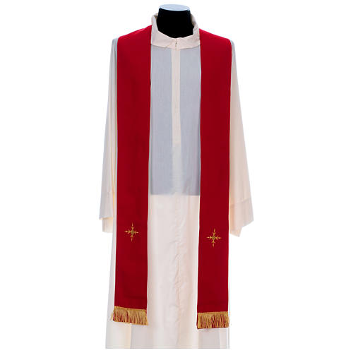 Catholic Priest Chasuble in 100% polyester with damask filigree stole and three crosses 9