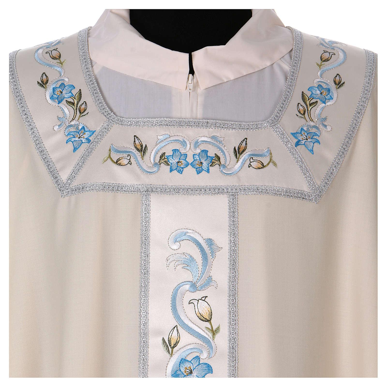 Chasuble mariale 100% serge de laine bande centrale col brodés 4