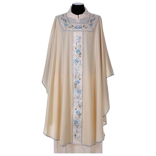 Chasuble mariale 100% serge de laine bande centrale col brodés 1