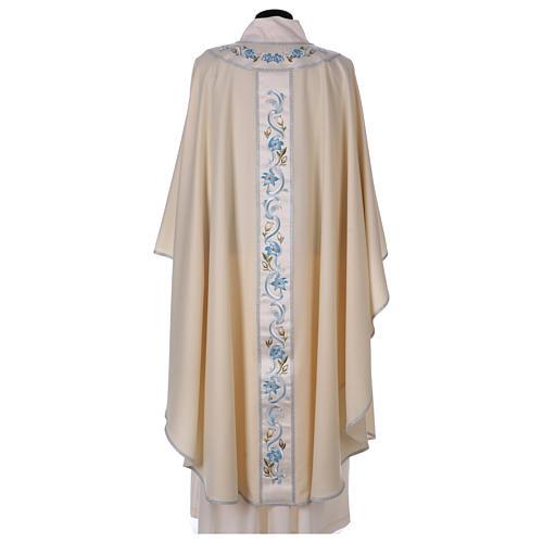 Chasuble mariale 100% serge de laine bande centrale col brodés 3