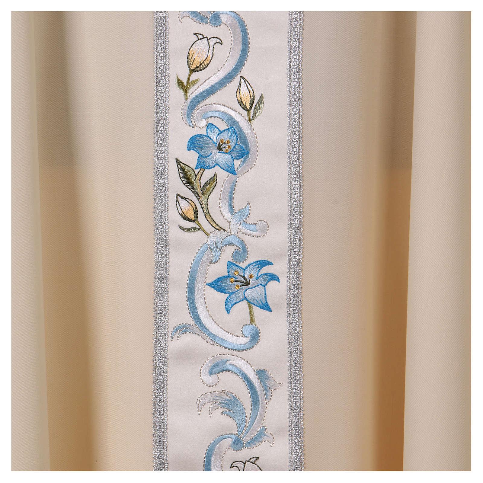 Paramento mariano 100% sarja de lã galão gola bordado 4