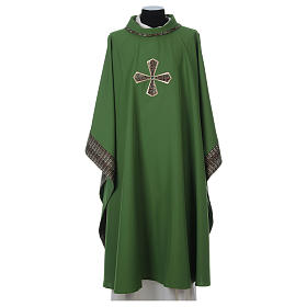 Chasubles: Chasuble 100% polyester inserts tissu croix brodée