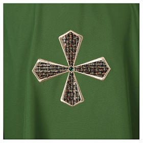 Chasuble 100% polyester inserts tissu croix brodée s2